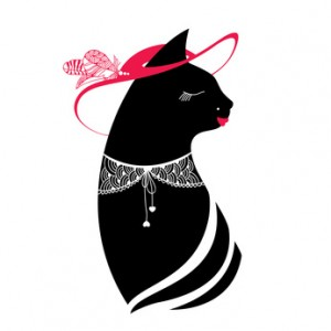 Silhouette of the cat with hat and lace collar