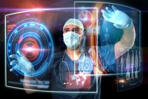 Doctor in uniform with digital screens working