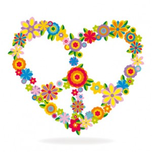 Peace heart sign made of flowers vector illustration