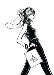 Femme qui fait du shopping à Paris